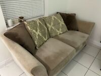 Three seater sofa, armchair and storage stool