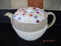 Handmade Knitted CUPCAKE Tea Cosy with Button decoration Summer/Birthday present