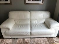 White leather 3and 2 piece suite violino