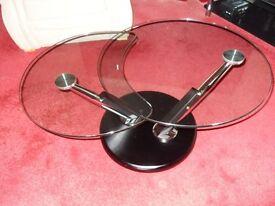 OREGON SWING ARM SMOKED GLASS COFFEE TABLE