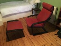 Ikea Poang leather chair and footrest set, near perfect condition.