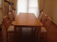 Light Wood Inlay Modern Dining Table and Chairs