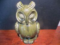 Vintage Retro Green Ceramic Owl Money Box Dartmouth Pottery Bird Art Pottery