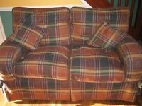 2 X - 2 SEAT SOFAS BROWN CHECK - EXCELLENT CONDITION