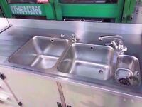 TWIN SINK COMMERCIAL UNIT MACHINE CATERING SHOP TAKEAWAY RESTAURANT DINER CANTEEN CAFE CAFETERIA