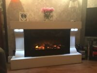 Modern free standing fire and surround