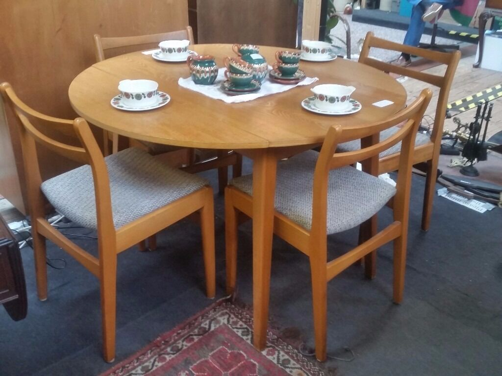 Retro Vintage Drop Leaf Dining Table And 4 Chairs 1970 S