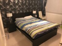 Double bed, mattress and two side tables