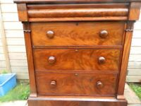 Victorian Flame Mahogany Chest of Drawers