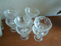 8 x French glass desert bowls with a raised leaf design