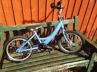 Blue child's bike for sale.