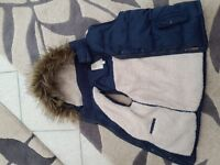 Girls Fat Face navy blue body warmer with detachable hood