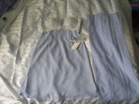 """Ladies lilac bridesmaids short dress size 36"""" length 31"""" with lace/sequenced top"""