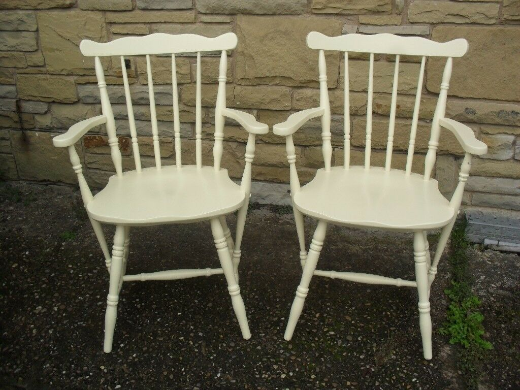 Shabby Chic Farmhouse Country Carvers In Farrow & Ball Cream No 67