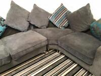 Ex display grey velvet corner sofa
