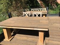 Large rustic patio table made from upcycled decking and timber .Can deliver Telford/Shrewsbury area