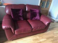 Leather cherry red sofas set