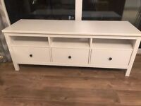 White IKEA TV / Media Unit - solid timber