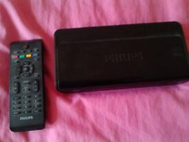 Freeview tv reception set-top tuner box - Philips w/ remote included + aerial signal booster