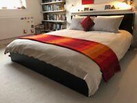 Ikea Bed frame, high, black-brown/Luröy with Mattress (Sultan Flokenes)