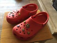 Ladies Red Classic Crocs size 6 with Jibbitz