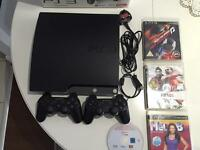 PS3 slim 120GB box controllers games GTA 5