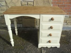 Shabby Chic Farmhouse Country Solid Pine Dressing Table /Desk In Farrow & Ball Cream No 67