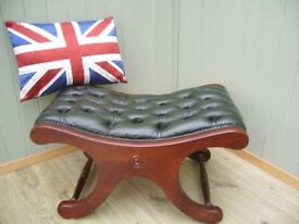 Green Leather Chesterfield Stool