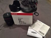 Canon EF 35mm f/1.4L USM Lens with Box+Pouch+Hood+UV Filter
