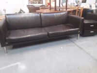 Brown leather 3 seater sofa, 77x32 inches (196x82 cm) , no rips or tears etc.