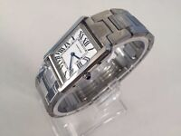 new men's CARTIER TANK STAINLESS STEEL WATCH with deployment clasp