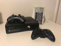 Xbox 360 slim 4gb + 2 pads + 7 games