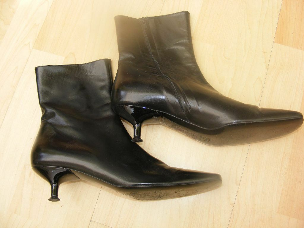 L. K. BENNETT Ladies Black Leather Kitten Heel Boots UK 5 EU 38 ...