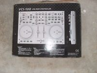 Large speakers, amp and DJ midi controller with box