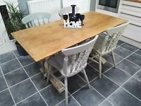 Refectory oak table & 4 chairs
