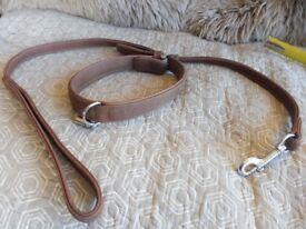 Luxury dog collar and lead nubuck leather