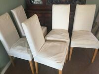 5 - cream covered dining table chairs (with fully removable covers for washing/cleaning)