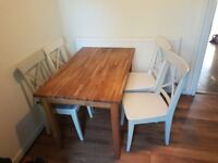 IKEA EKENSBURG OAK WOODEN DINING TABLE & 4 INGOLF CHAIRS