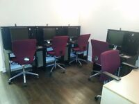 CUSTOM BUILT COMPUTER DESK/CHAIRS FOR INTERNET CAFE FOR SALE