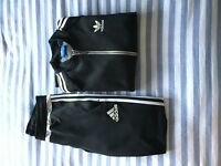 Men's Adidas black and white tracksuit