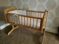 Mothercare swinging crib and crib set
