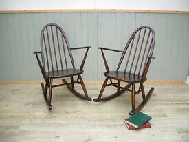 Stunning Pair of Ercol Rocking Chairs
