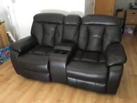 Electric recliner 2 seater brown sofa