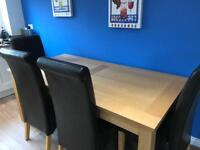 Large Oak Table with Four Brown Leather Look Chairs