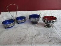 4 SILVER PLATED DISHES WITH CRANBURRY AND COBALT GLASS VGC