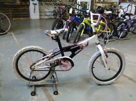 GIRLS AVIGO CHLOE BMX STYLE BIKE 18 INCH WHEELS BLACK/WHITE/PINK GOOD CONDITION