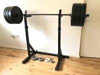 [Home Gym Weightlifting Set] incl. squat stands, bumper plates to 20kg, and 15kg olympic bar
