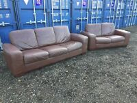 Bargain Genuine Italian Leather Sofas V.G.C. Free Delivery In Norwich.