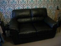 Two seater sofa black leather