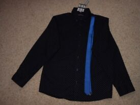 15-16 yrs dark blue/black and blue polka dot shirt and tie